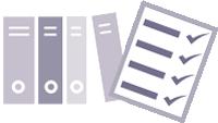 Grafik mit Aktenordnern und abgehakter Checkliste