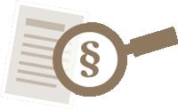 Grafik mit Dokument und Lupe mit Paragraphenzeichen