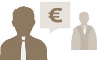 Grafik mit Person und Sprechblase mit Eurozeichen im Vordergrund, im Hintergrund juristische Person