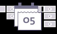 Grafik in violett mit Kalender und Eurozeichen im Hintergrund