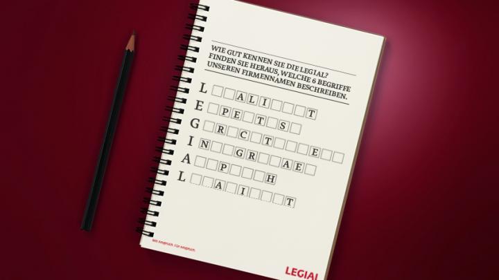 Rätsel auf Block zum Firmennamen der LEGIAL